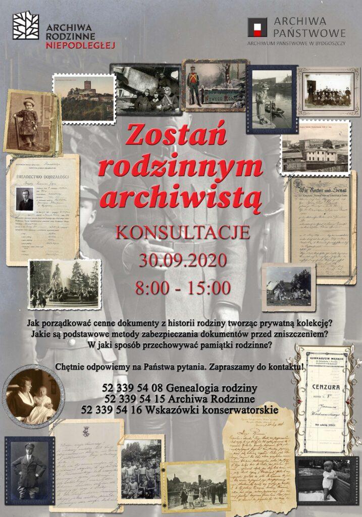 Plakat promujący wydarzenie Zostań rodzinnym archiwistą wyszczególnione numery konsultacyjne telefonów 523395415, 523395408, 523395416